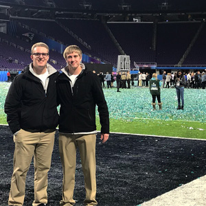 Conner Ubben and Josh Hornstra on Super Bowl field