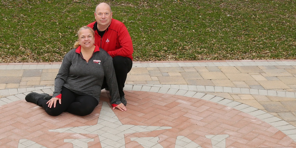Dennis and Susan Muyskens chose to incorporate the NWC logo into their new home basketball court, completed in November of 2017.